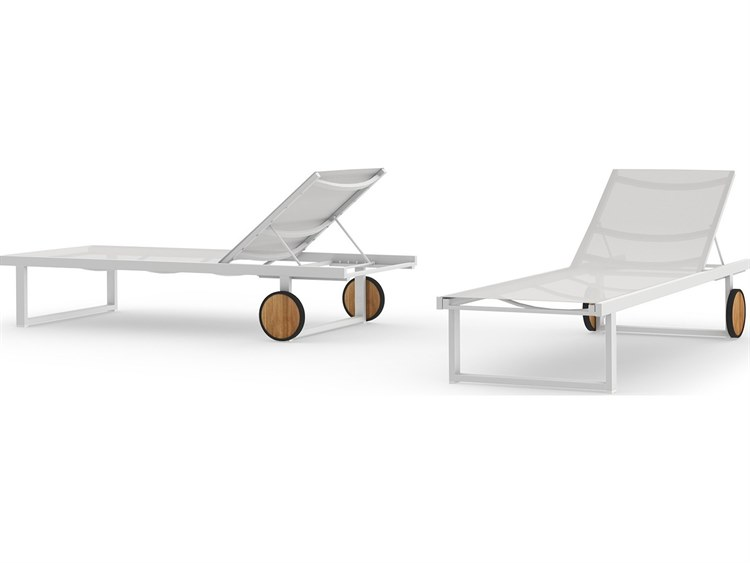 Mamagreen Allux Aluminum Sling Chaise Lounge with Wooden Wheels PatioLiving