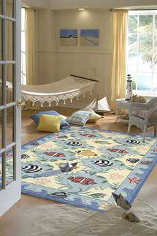 Momeni Coastal Blue Area Rug