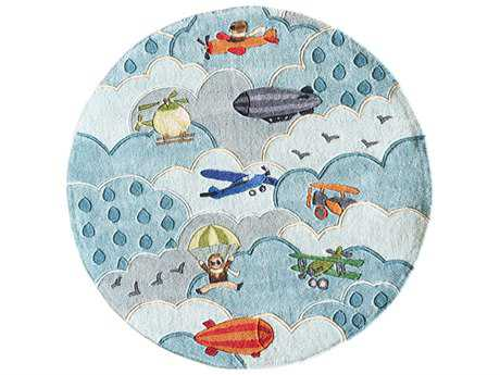 Momeni Lil Mo Whimsy 5' Round Sky Area Rug