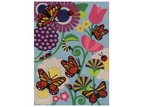 Momeni Lilmowhimsy Rectangular Blue & Pink Area Rug
