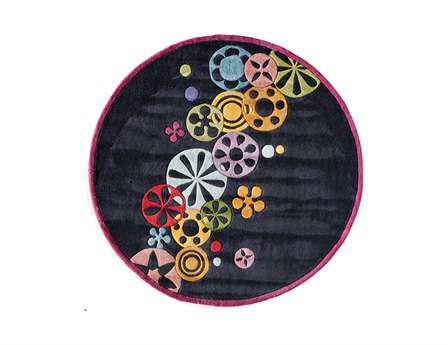 Momeni Lil Mo Hipster 5' Round Black Area Rug