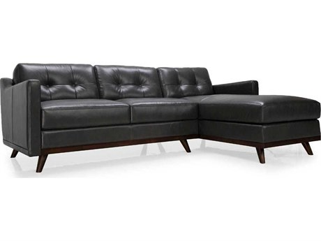 Moroni Monika Mid-Century Charcoal Grey Two-Piece Sectional Sofa