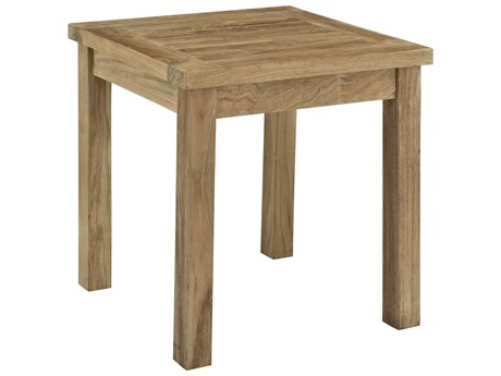 Modway Outdoor Marina Natural Teak 19'' Wide Square Side Table