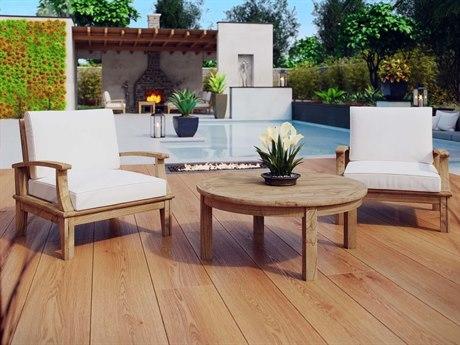 Modway Outdoor Marina Natural Teak 3 Piece Lounge Set in White