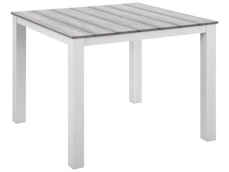 Modway Outdoor Maine White & Light Gray Resin 40'' Wide Square Dining Table