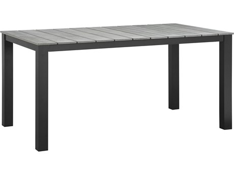Modway Outdoor Maine Brown & Gray Resin 63''W x 35.5''D Rectangular Dining Table