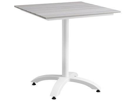 Modway Outdoor Maine White & Light Gray Resin 28'' Wide Square Dining Table