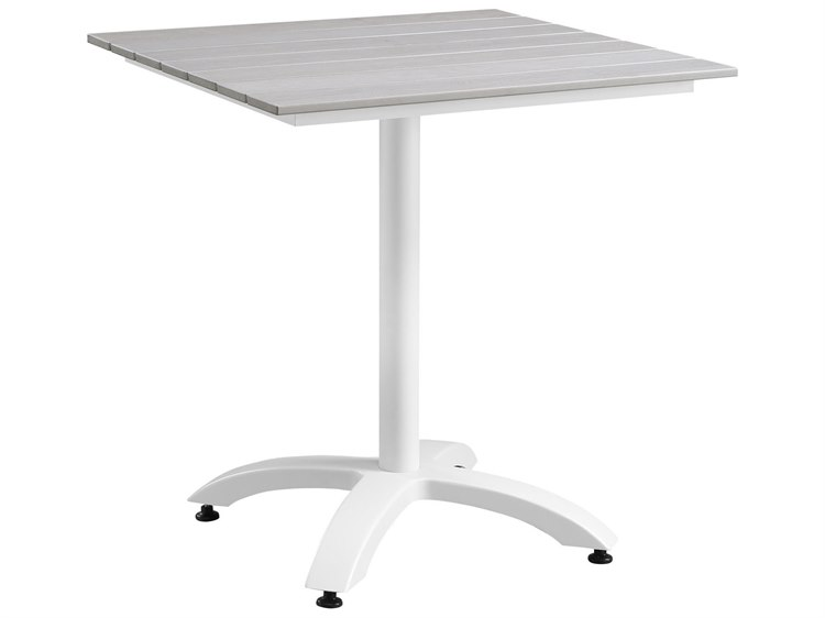 Modway Outdoor Maine White Light Gray Resin Wide Square - 28 wide dining table