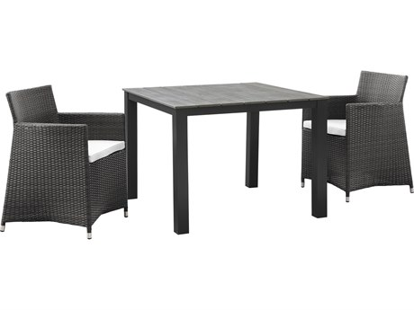 Modway Outdoor Junction Brown Wicker 3 Piece Dining Set in White