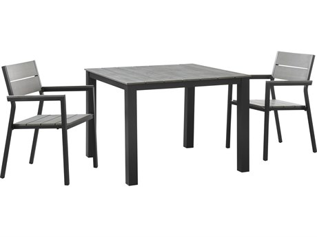 Modway Outdoor Maine Brown & Gray Resin 3 Piece Dining Set