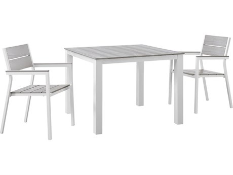 Modway Outdoor Maine White & Light Gray Resin 3 Piece Dining Set