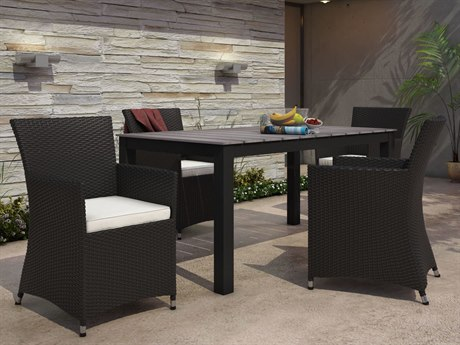 Modway Outdoor Junction Brown Wicker 5 Piece Dining Set in White