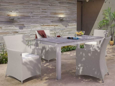 Modway Outdoor Junction Gray Wicker 5 Piece Dining Set in White