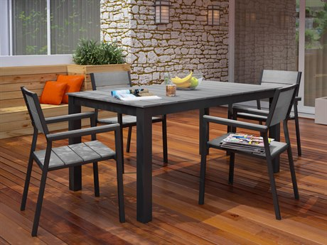 Modway Outdoor Maine Brown & Gray Resin 5 Piece Dining Set