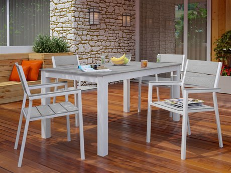 Modway Outdoor Maine White & Light Gray Resin 5 Piece Dining Set