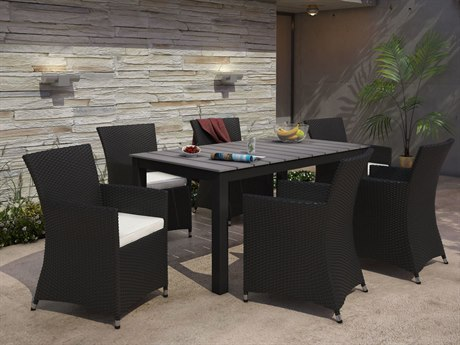 Modway Outdoor Junction Brown Wicker 7 Piece Dining Set in White