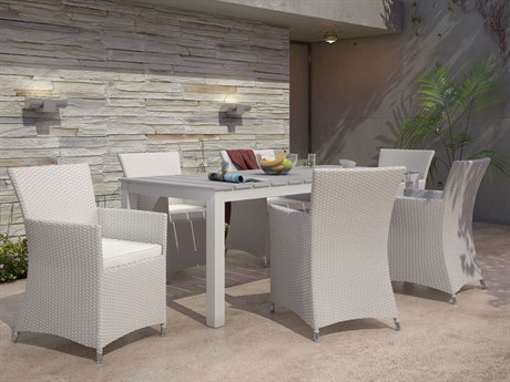 Modway Outdoor Junction Gray Wicker 7 Piece Dining Set in White