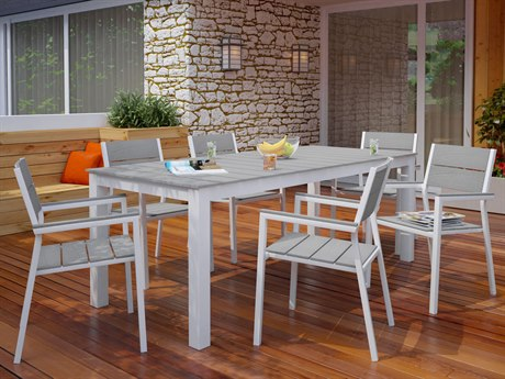 Modway Outdoor Maine White & Light Gray Resin 7 Piece Dining Set