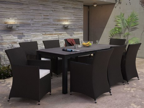 Modway Outdoor Junction Brown Wicker 9 Piece Dining Set in White