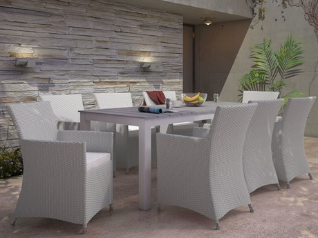 Modway Outdoor Junction Gray Wicker 9 Piece Dining Set in White