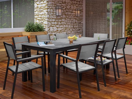 Modway Outdoor Maine Brown & Gray Resin 9 Piece Dining Set