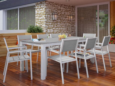 Modway Outdoor Maine White & Light Gray Resin 9 Piece Dining Set