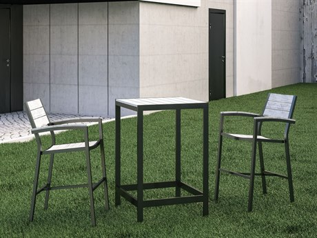 Modway Outdoor Maine Brown & Gray Resin 3 Piece Bar Set