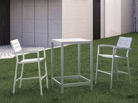 Modway Outdoor Maine White & Light Gray Resin 3 Piece Bar Set