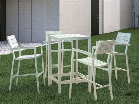 Modway Outdoor Maine White & Light Gray Resin 5 Piece Bar Set
