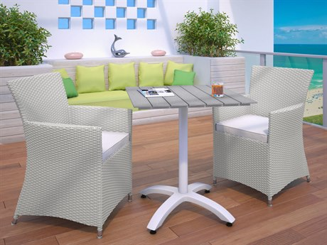 Modway Outdoor Junction Gray Wicker 3 Piece Dining Set in White