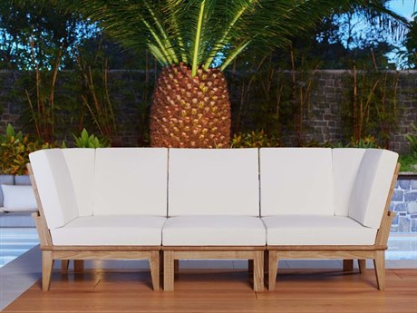 Modway Outdoor Marina Natural Teak 3 Piece Sectional Set in White