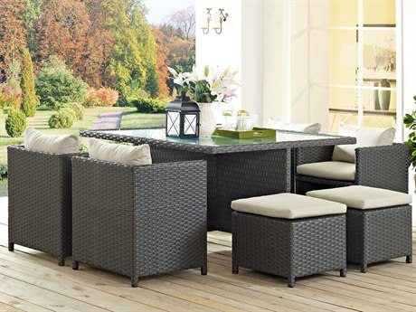 Modway Outdoor Sojourn Chocolate Wicker 9 Piece Dining Set in Canvas Antique Beige