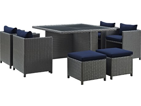 Modway Outdoor Sojourn Chocolate Wicker 9 Piece Dining Set in Canvas Navy
