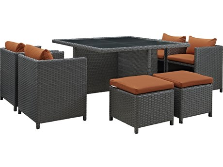 Modway Outdoor Sojourn Chocolate Wicker 9 Piece Dining Set in Canvas Tuscan