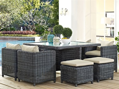 Modway Outdoor Summon Gray Wicker 9 Piece Dining Set in Canvas Antique Beige