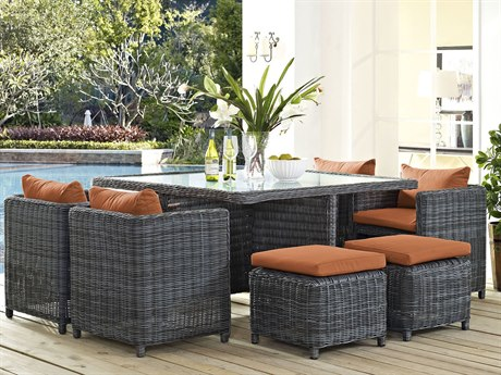 Modway Outdoor Summon Gray Wicker 9 Piece Dining Set in Canvas Tuscan
