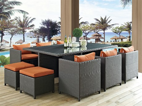 Modway Outdoor Sojourn Chocolate Wicker 11 Piece Dining Set in Canvas Tuscan