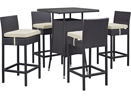 Modway Outdoor Convene Espresso Wicker 5 Piece Bar Set in Beige