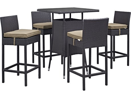 Modway Outdoor Convene Espresso Wicker 5 Piece Bar Set in Mocha
