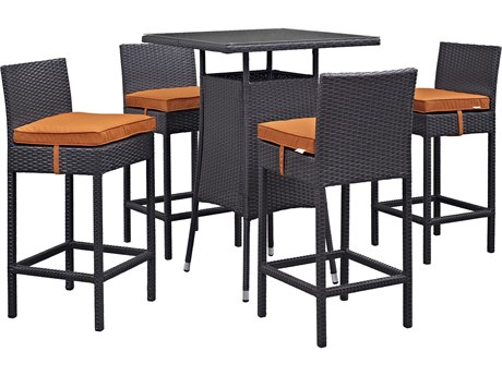 Modway Outdoor Convene Espresso Wicker 5 Piece Bar Set in Orange