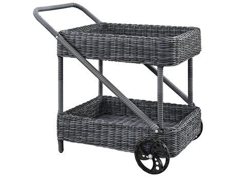 Modway Outdoor Summon Gray Wicker Beverage Cart