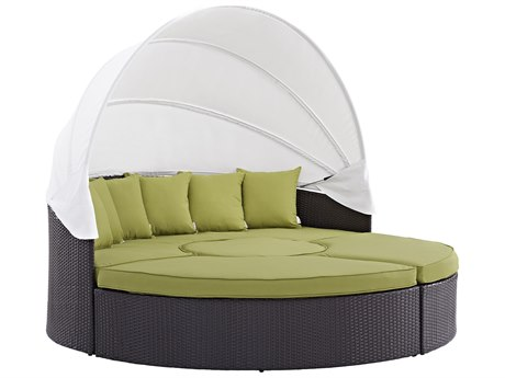 Modway Outdoor Convene Espresso Wicker Daybed in Peridot