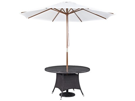 Modway Outdoor Convene Espresso Wicker 47'' Wide Dining Table with Umbrella