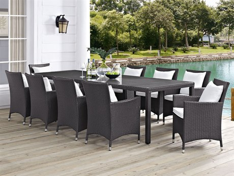 Modway Outdoor Convene 11 Espresso Wicker 11 Piece Dining Set in White