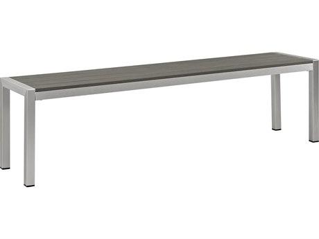 Modway Outdoor Shore Silver & Gray Aluminum Bench