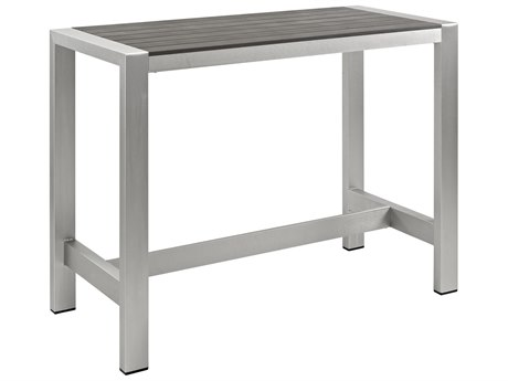 Modway Outdoor Shore Silver Aluminum 59''W x 27''D Rectangular Bar Table