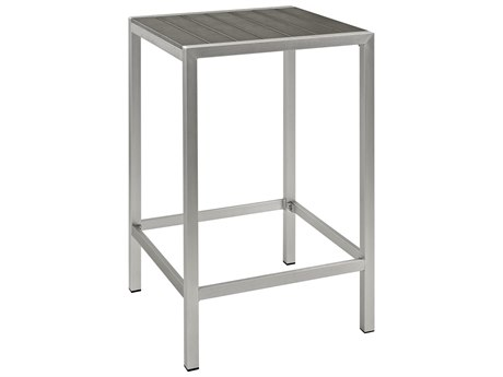 Modway Outdoor Shore Silver Aluminum 27'' Wide Square Bar Table