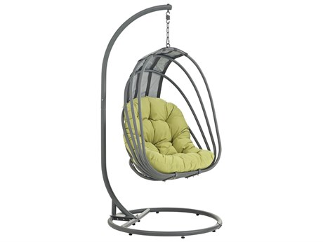 Modway Outdoor Whisk Silver Steel Swing Chair With Stand in Peridot
