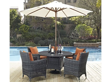 Modway Outdoor Summon Gray Wicker 7 Piece Dining Set in Canvas Tuscan