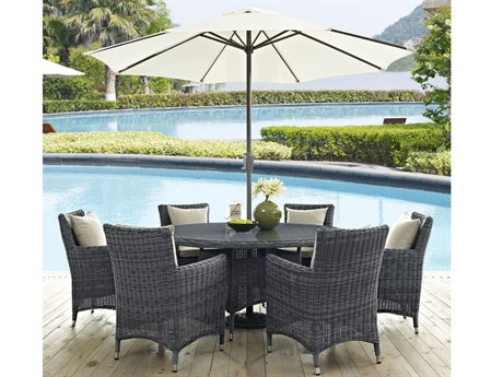 Modway Outdoor Summon Gray Wicker 8 Piece Dining Set in Canvas Antique Beige